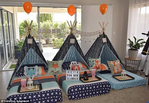 Vanessa Adamson also used Kmart products to make an amazing DIY slumber party for her son's ninth birthday (pictured)