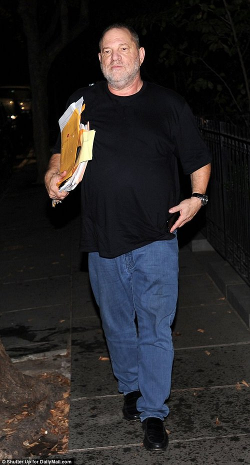 Dark: Just after Weinstein (pictured on Thursday night) was accused of sexually harassing multiple female employees and movie stars a number of actresses came out to share their experience with the man