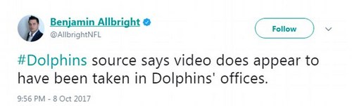 A Dolphins source allegedly told a Cover 32 reporter that the video was taken from inside the Dolphins' offices