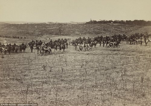 Artillery marching down the south bank of Rappahannock River, east Virginia on June 4, 1863