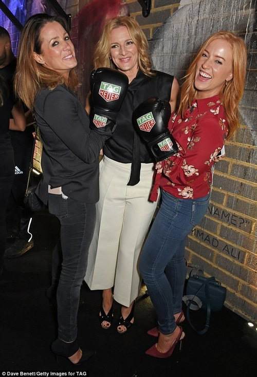 Working it: Gabby, Natalie and Sarah laughed out loud as they mingled at the party