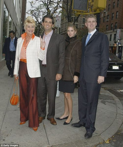 ) Ivana Trump poses with her children, Donald Trump Jr., Ivanka Trump and Eric Trump, after lunch at Frederick's Madison November 16, 2006 in New York City