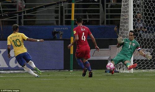 Paris Saint-Germain forward Neymar tests Claudio Bravo at the near post as the Manchester City goalkeeper makes the save