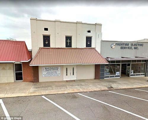 According to the person who uploaded the clip, Pastor Walker's wife, Vivian, was sitting in the pews while the incident occurred (Pictured, Word Fellowship Baptist Church)