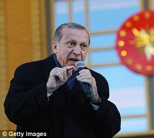 The arrest of Topuz led the US to suspend visas to Turkish citizens at U.S. diplomatic missions (Pictured: Erdogan, April 2017)