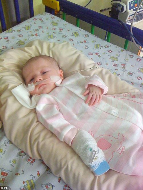 Amy was immobile from the head down at birth and had to spend six weeks in hospital