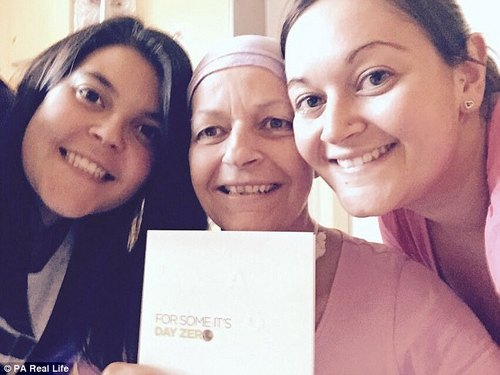 Nicky, with her daughters, on the day she received her stem cell transplant