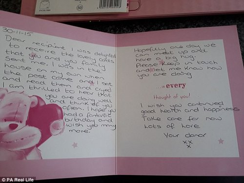A card from Annette to Nicky in which she says 'Hopefully one day we can meet up and have a big hug'