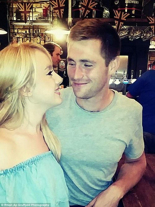 Eve Greenow (pictured left with her boyfriend) says she lost nearly 4st after she stopped using the pill