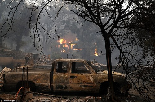 Images from Monday show fire still burning in Glen Ellen, California