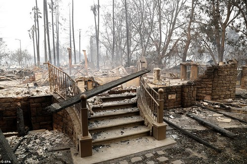 Steps lead up to a destroyed home in Santa Rosa, California on Monday, October 9. Because of strong winds and hot, dry weather, it appears the flames will continue for some time