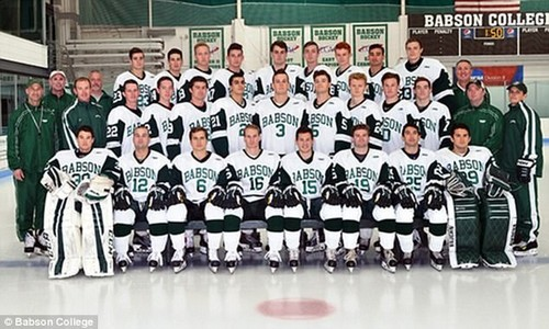 Today Walsh will become the newest member of Babson College's hockey team. The college's 2016-2017 team is pictured here