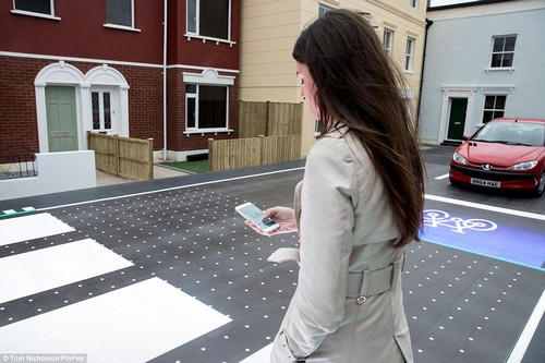 The interactive Smart Crossing alerts pedestrians it can see are looking at their mobile phones and could be unaware of their surroundings