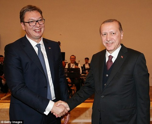 President of Turkey, Recep Tayyip Erdogan (R) shakes hands with President of Serbia, Aleksandar Vucic (Pictured: October 10, 2017)
