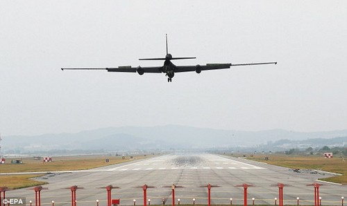 A U-2S ultra-high-altitude reconnaissance aircraft operated by the US Air Force lands at Osan Air Base during the drills