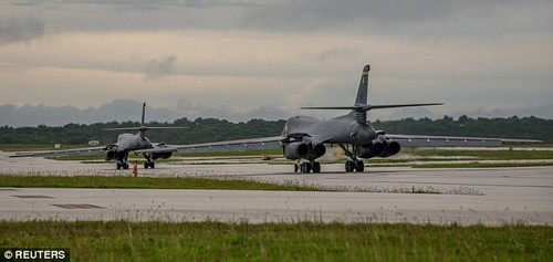 Two Lancers (pictured) flew out for the mission. That came as it was announced that Donald Trump had been briefed on 'a range of responses' to North Korean nuclear aggression