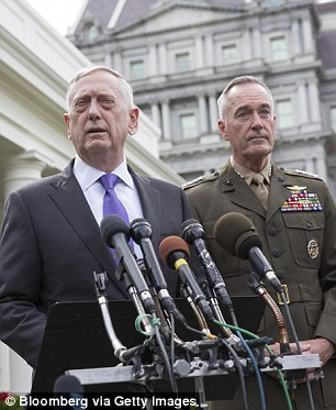 US Secretary of Defense James Mattis and Chairman of the Joint Chiefs Joseph Dunford (seen here in September) released a statement on the briefing