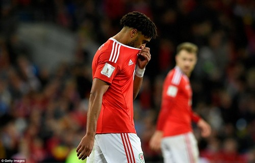 Welsh captain Ashley Williams looks dejected after the visitors came to Cardiff and ended their hopes of a World Cup