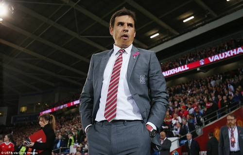 Wales boss Chris Coleman looks on from the sideline as the crucial World Cup qualifier is about to get underway in Cardiff
