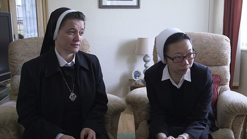 Sister Linda, pictured left with Sister Anna, says it makes her 'disgusted' that people cannot control themselves