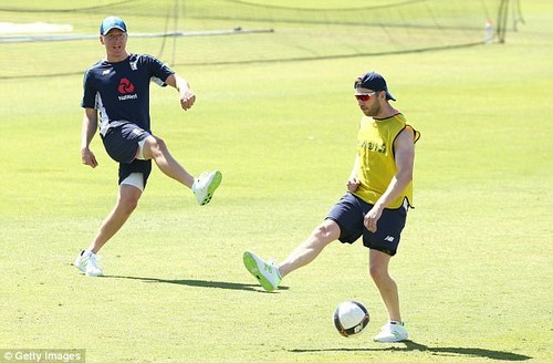 Gary Ballance and Mark Stoneman play football during England's first training session in Perth