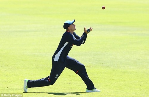 England captain Joe Root prepares to take a catch during training in Perth on Tuesday