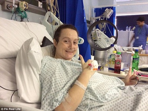 But when her condition worsened, and she began having stomach cramps and constipation, she sought advice from her GP (pictured in hospital after having surgery)