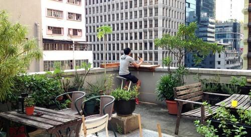 Rooftop terrace at Hop Inn Hong Kong