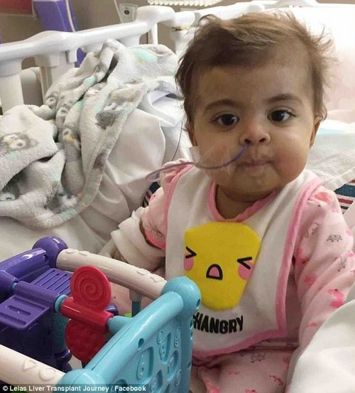 Leia Garcia, one, was born with biliary atresia, a liver disease in infants that blocks the bile ducts, leading to liver failure