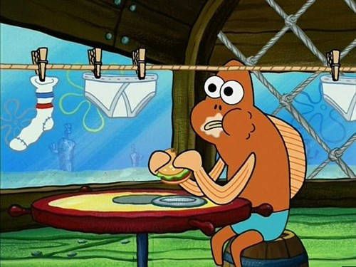 The 2015 'SpongeBob Movie: Sponge Out of Water' features several scenes in the American-style restaurant 'Krusty Krab', with diners feasting on burgers