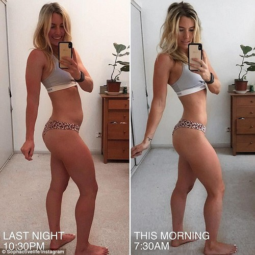She did this via diet, fitness and a simple routine called N.E.A.T – non-exercise activity thermogenesis - she now posts honest snaps (pictured)