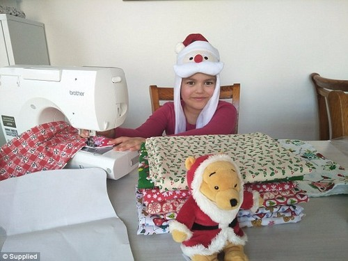 Aroha White, seven, is making 65 stockings for children on her ward spending Christmas in hospital (pictured)