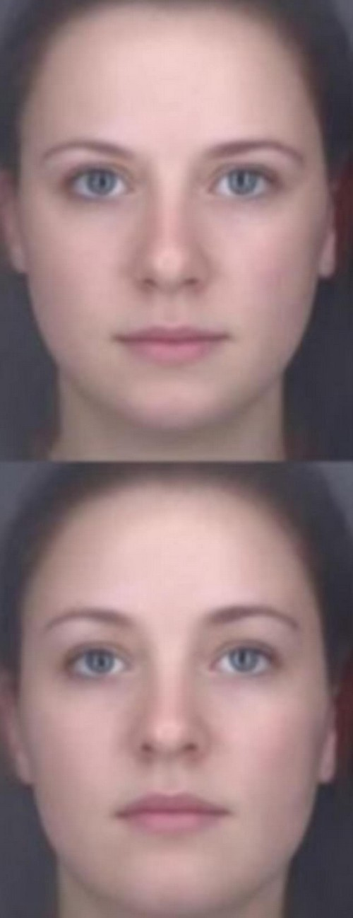 The top image's lower amounts of facial fat makes people assume the individual has a healthier BMI than the woman in the bottom picture. A healthy BMI is linked to a reduced risk of obesity