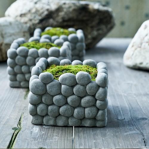 Для небольших помещений отлично подойдут декоративные кашпо, украшенные морской галькой.