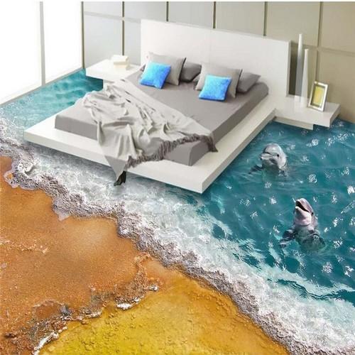 Наливной пол с изображением дельфинов у берега.