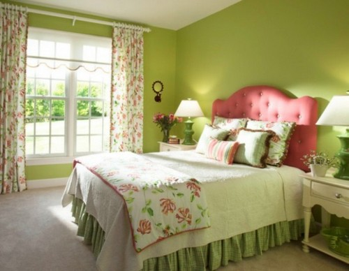 Дизайн спальни в зелёном цвете.