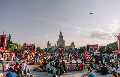 The fan zone sits in the shadow of the Lomonosov Moscow State University.