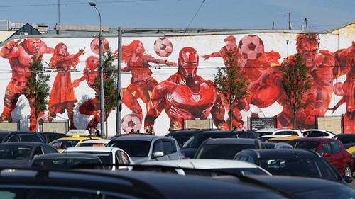 Martin Ron's mural of footballing superheroes.