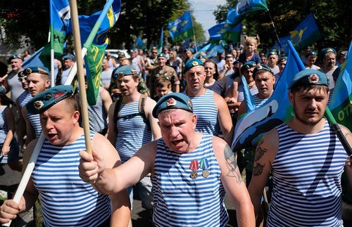Russia's Airborne Troops (Blue Berets) in Krasnodar mark their holiday with a triumphant march.