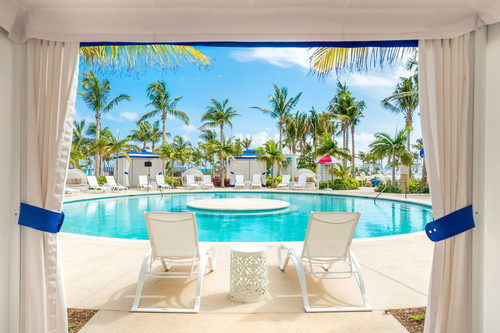 The view from inside a poolside cabana at SLS Baha Mar