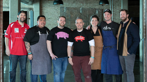 Cochon555 Chicago chefs (from left): Chris Thompson of Coda di Volpe, Jake Chappel of Vincent, Brian and Jennifer Enyart of Dos Urban Cantina, Corry Morris of Nacional 27, Daniel Espinoza of Cantina Laredo and founder Brady Lowe.