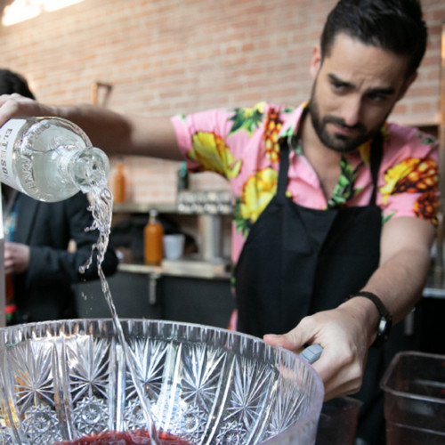 Barkeep Johnny Contraveos and the Solar Vortex Punch.