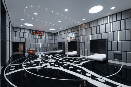 The basketball court inside the Hardwood Suite