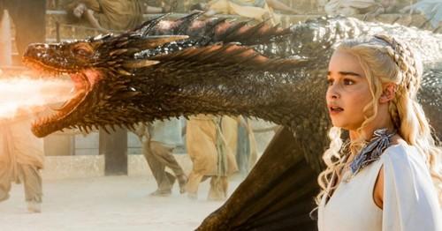 Emilia Clarke as Daenerys; Kit Harington, Jon Snow; Sophie Turner as Sansa Stark