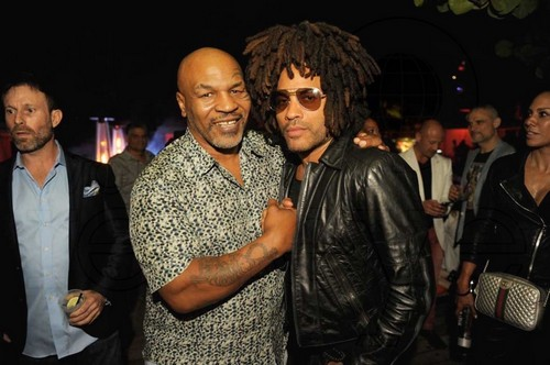 Mike Tyson and Lenny Kravitz at Hyde Beach at SLS Miami
