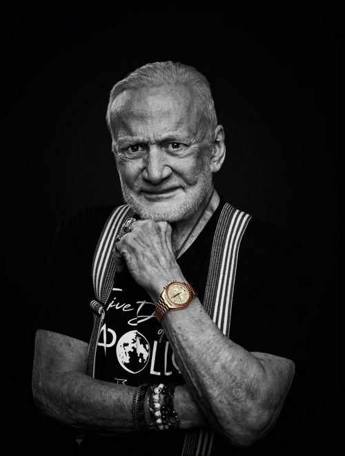 Buzz Aldrin wears theOmega Speedmaster Apollo 11 50th Anniversary Limited Edition.