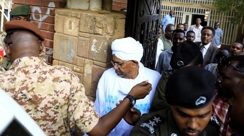 Sudan's ex-president Omar al-Bashir leaves the office of the anti-corruption prosecutor in Khartoum