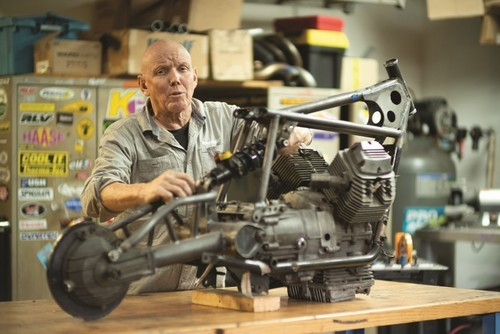 Bruce McQuiston, owner of Moto Studio, works on one of his exquisite, bespoke motorcycles.