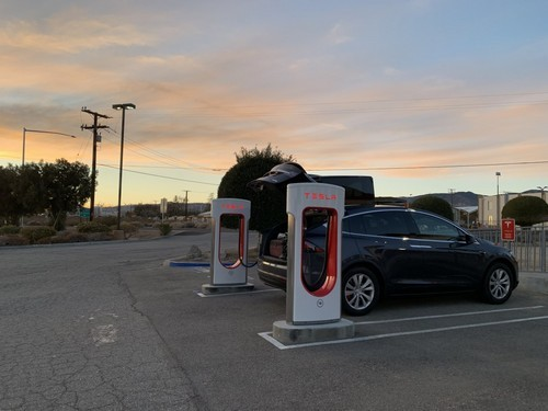 The Tesla Supercharging station in Mojave, CA.