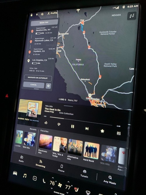 Tesla's charging plan from Reno, NV back to LA. Note stops in Gardnerville, NV, Mammoth and Inyokern CA